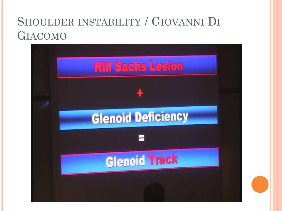 S HOULDER INSTABILITY / G IOVANNI D I G IACOMO