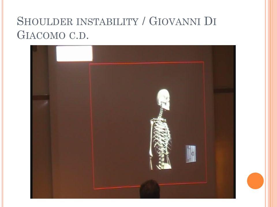 S HOULDER INSTABILITY / G IOVANNI D I G IACOMO C. D.