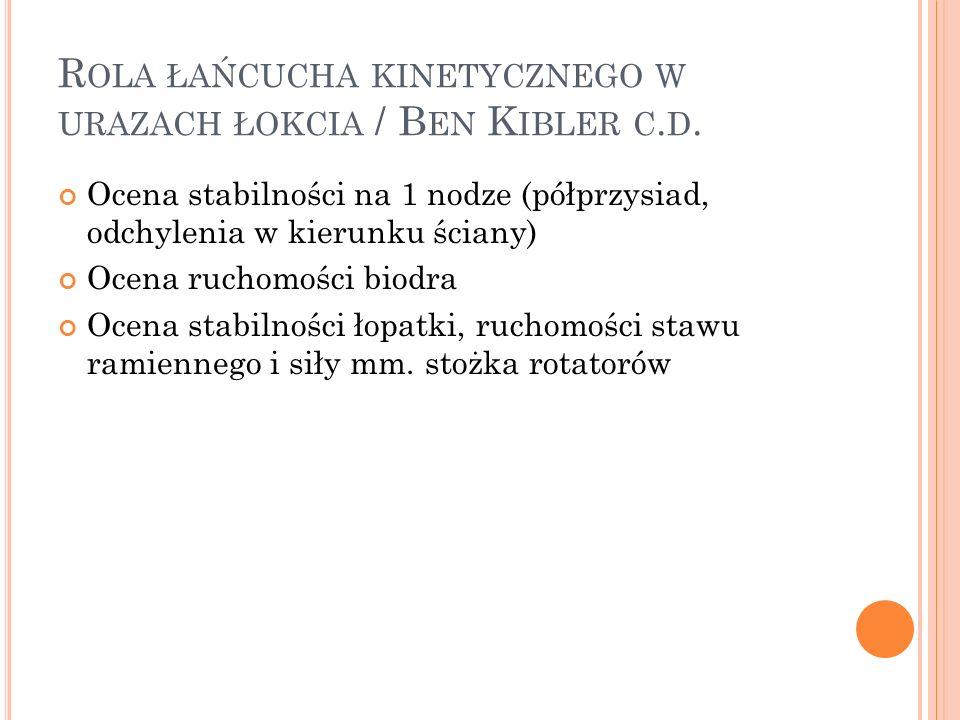 R OLA ŁAŃCUCHA KINETYCZNEGO W URAZACH ŁOKCIA / B EN K IBLER C. D. Ocena stabilności na 1 nodze (półprzysiad, odchylenia w kierunku ściany) Ocena rucho