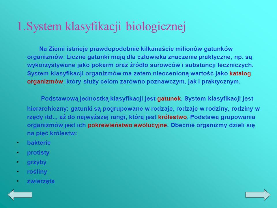 1.System klasyfikacji biologicznej Na Ziemi istnieje prawdopodobnie kilkanaście milionów gatunków organizmów.