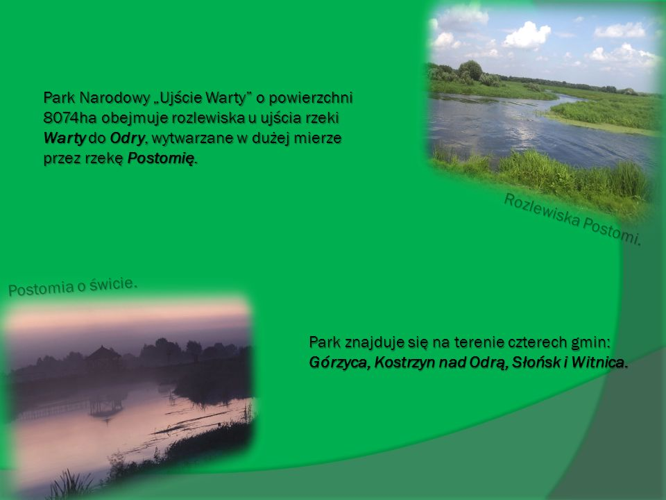 Park Narodowy Ujście Warty o powierzchni 8074ha obejmuje rozlewiska u ujścia rzeki Warty do Odry, wytwarzane w dużej mierze przez rzekę Postomię. Post