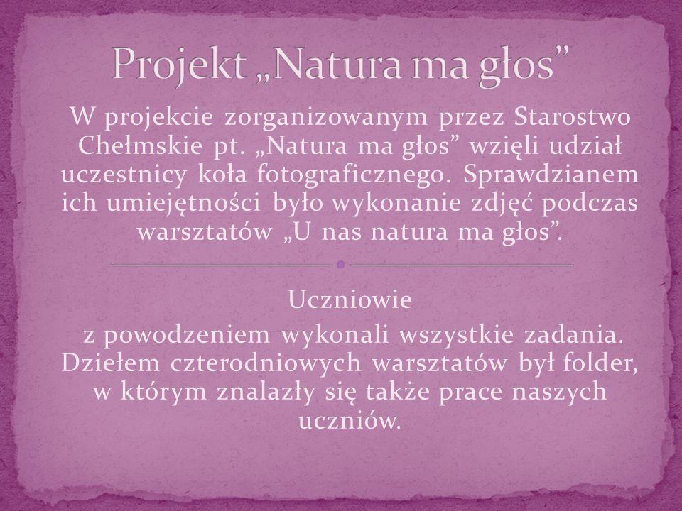 W projekcie zorganizowanym przez Starostwo Chełmskie pt.