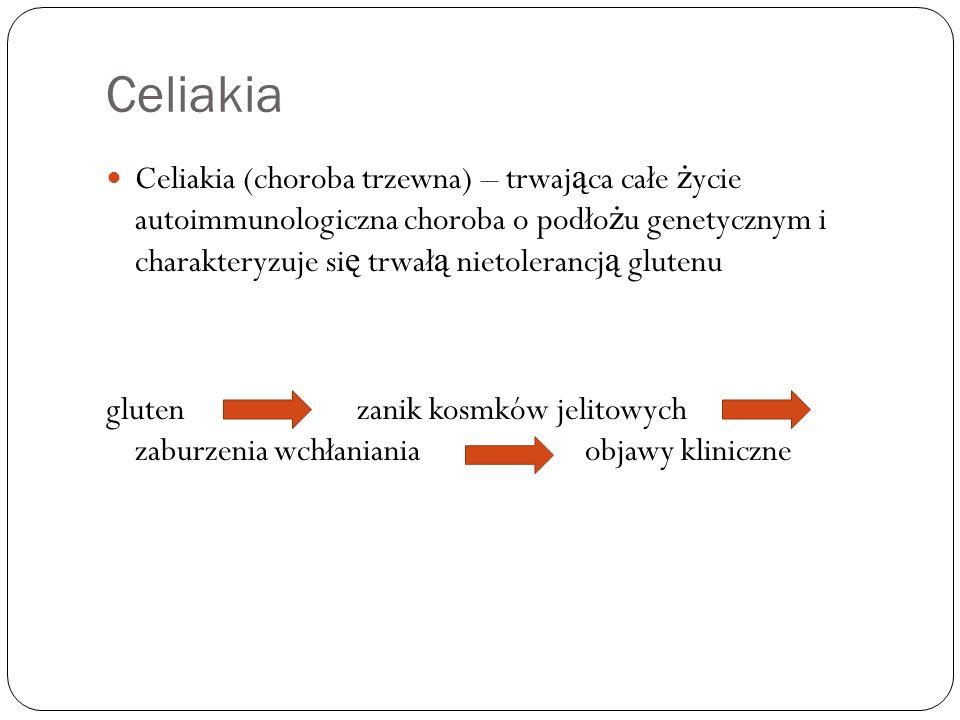 Celiakia Celiakia (choroba trzewna) – trwaj ą ca całe ż ycie autoimmunologiczna choroba o podło ż u genetycznym i charakteryzuje si ę trwał ą nietoler