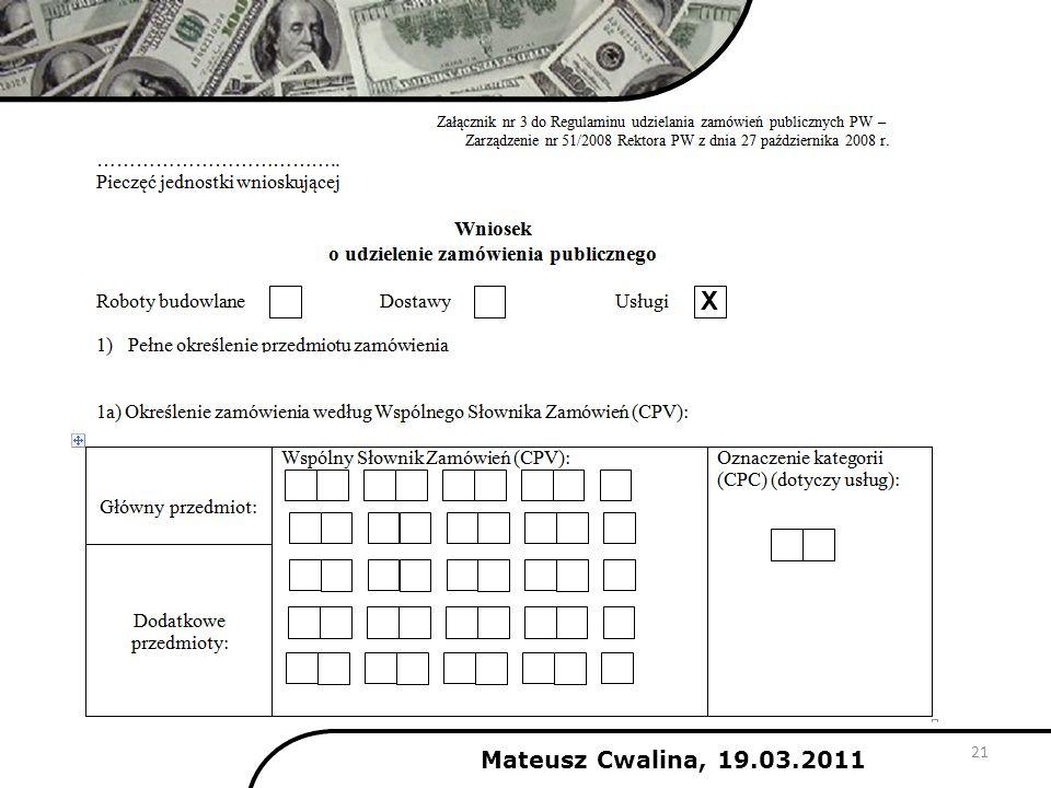 21 X Mateusz Cwalina, 19.03.2011