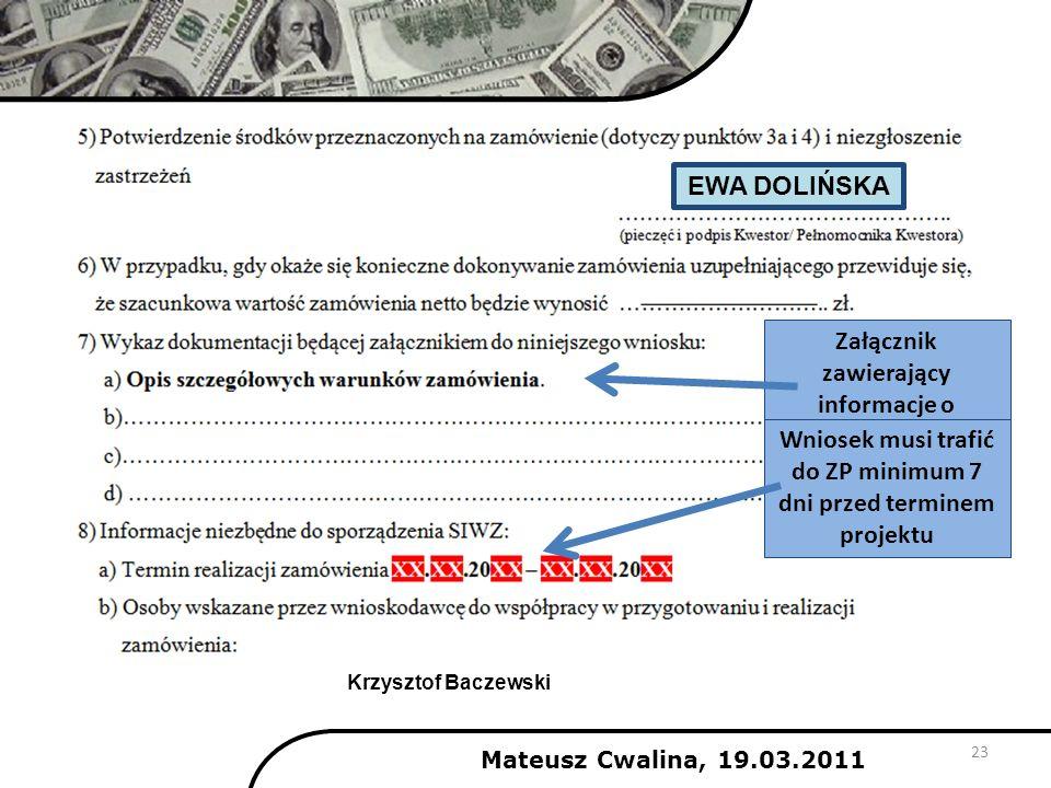 23 Załącznik zawierający informacje o zamówieniu Wniosek musi trafić do ZP minimum 7 dni przed terminem projektu EWA DOLIŃSKA Mateusz Cwalina, 19.03.2