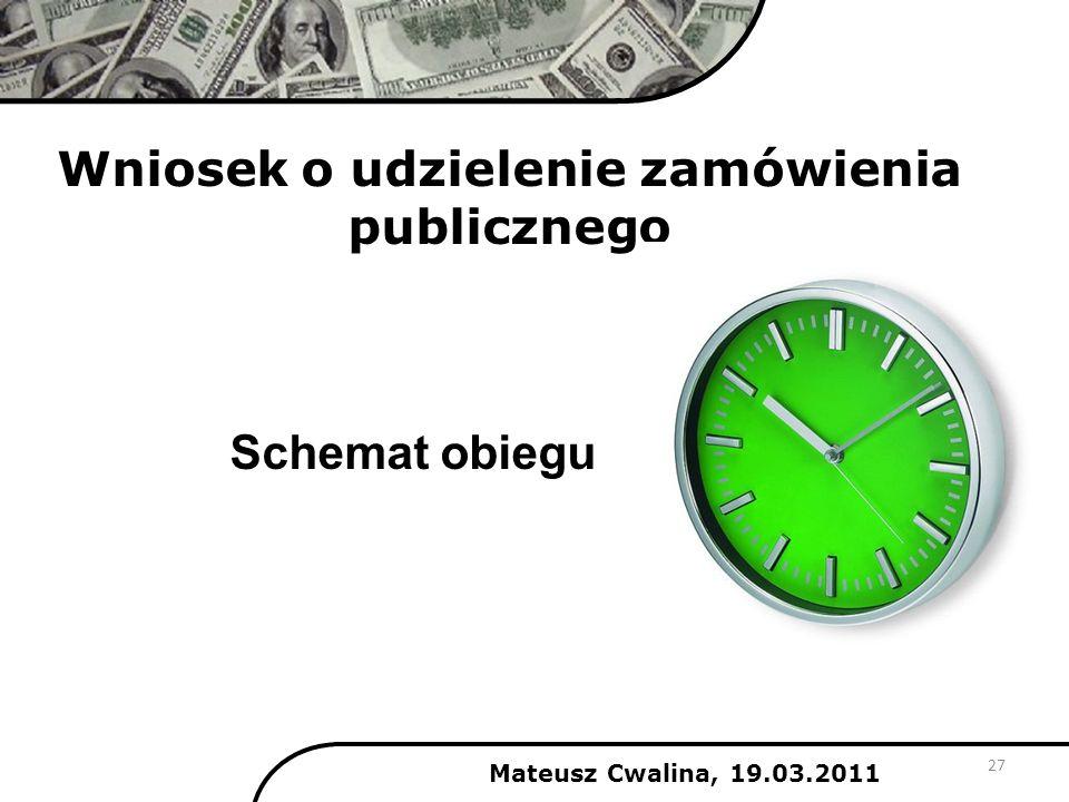 Wniosek o udzielenie zamówienia publicznego 27 Schemat obiegu Mateusz Cwalina, 19.03.2011