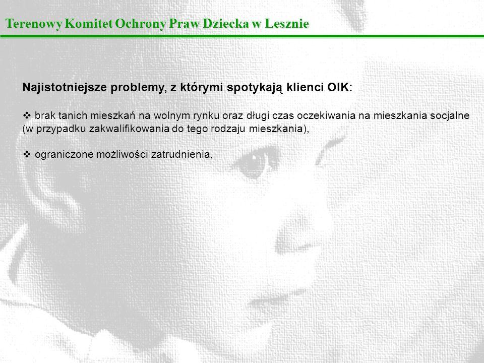 Terenowy Komitet Ochrony Praw Dziecka w Lesznie Najistotniejsze problemy, z którymi spotykają klienci OIK: brak tanich mieszkań na wolnym rynku oraz d