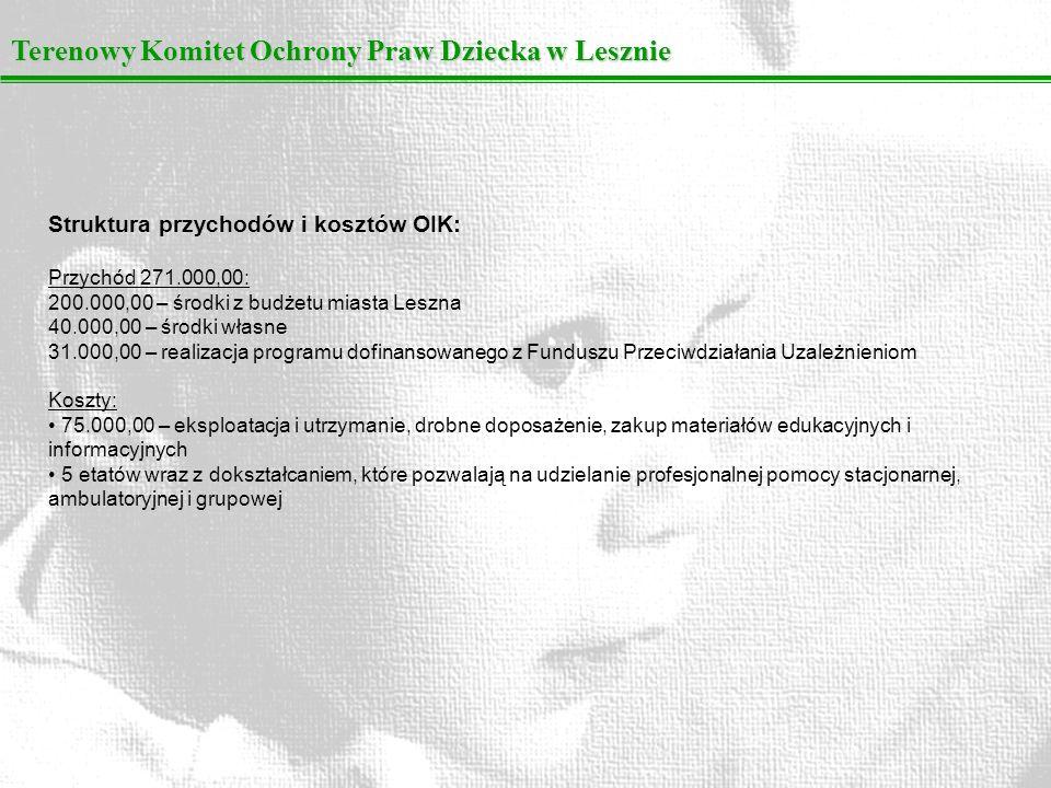 Terenowy Komitet Ochrony Praw Dziecka w Lesznie Struktura przychodów i kosztów OIK: Przychód 271.000,00: 200.000,00 – środki z budżetu miasta Leszna 4