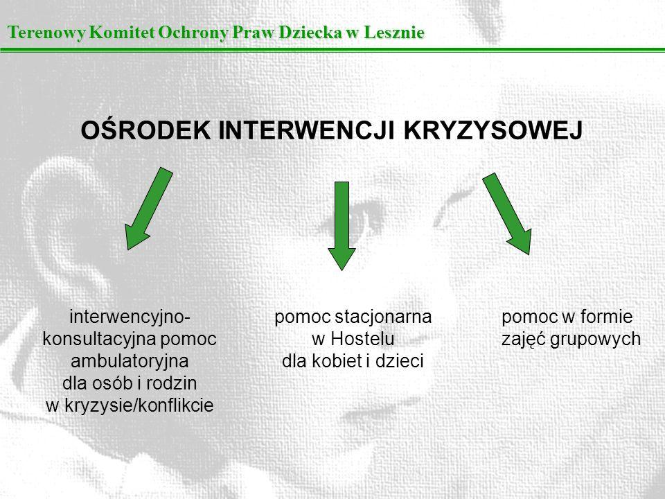 Terenowy Komitet Ochrony Praw Dziecka w Lesznie OŚRODEK INTERWENCJI KRYZYSOWEJ interwencyjno- konsultacyjna pomoc ambulatoryjna dla osób i rodzin w kr