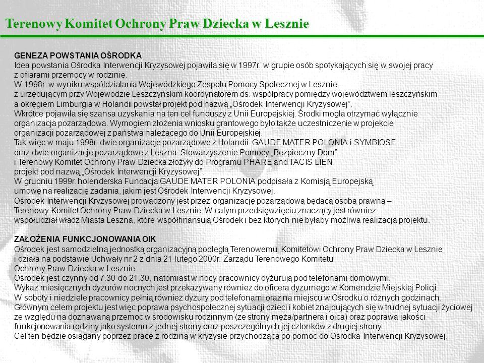 Terenowy Komitet Ochrony Praw Dziecka w Lesznie GENEZA POWSTANIA OŚRODKA Idea powstania Ośrodka Interwencji Kryzysowej pojawiła się w 1997r. w grupie