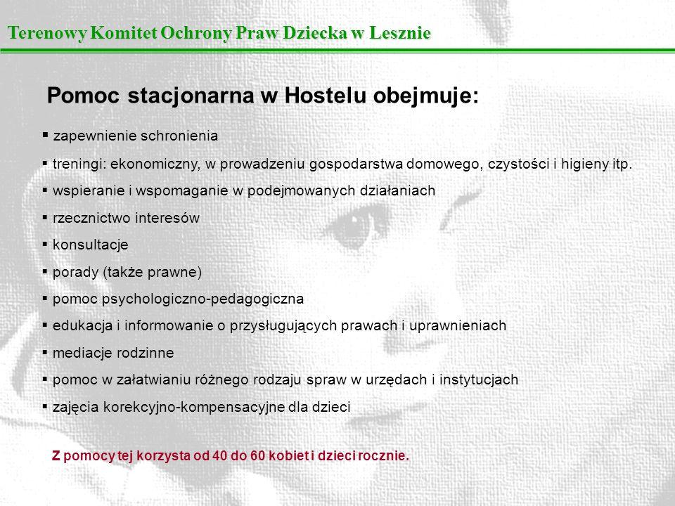 Terenowy Komitet Ochrony Praw Dziecka w Lesznie Pomoc stacjonarna w Hostelu obejmuje: zapewnienie schronienia treningi: ekonomiczny, w prowadzeniu gos