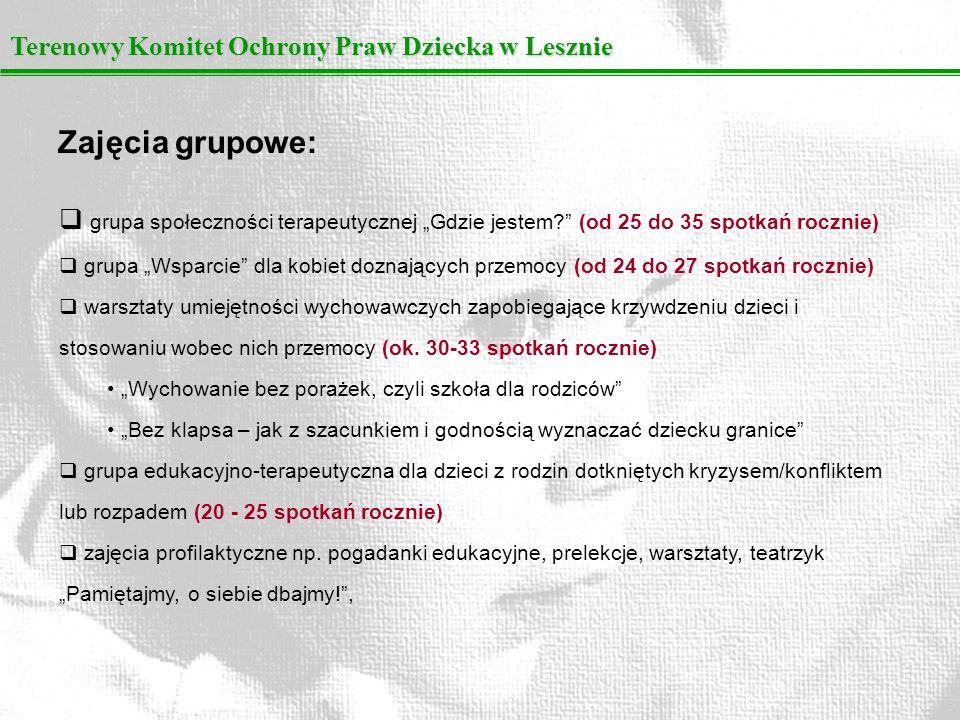 Terenowy Komitet Ochrony Praw Dziecka w Lesznie Źródła utrzymania OIK w latach 2000-2009: Urząd Miasta Leszna Starostwo Powiatu Leszczyńskiego Biuro ds.
