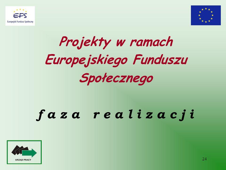 24 Projekty w ramach Europejskiego Funduszu Społecznego f a z a r e a l i z a c j i