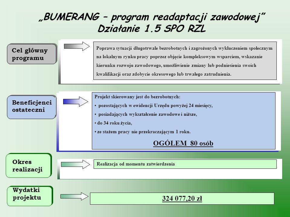 32 BUMERANG – program readaptacji zawodowej Działanie 1.5 SPO RZL Projekt skierowany jest do bezrobotnych: pozostających w ewidencji Urzędu powyżej 24