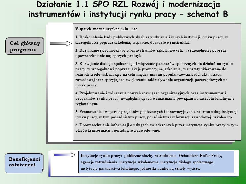 34 Działanie 1.1 SPO RZL Rozwój i modernizacja instrumentów i instytucji rynku pracy – schemat B Instytucje rynku pracy: publiczne służby zatrudnienia