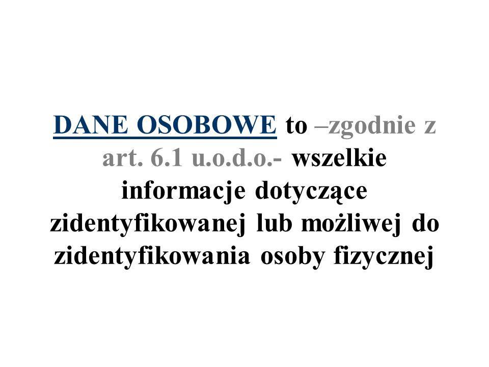 DANE OSOBOWE to –zgodnie z art. 6.1 u.o.d.o.- wszelkie informacje dotyczące zidentyfikowanej lub możliwej do zidentyfikowania osoby fizycznej