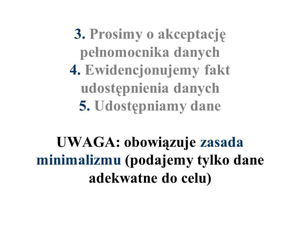 3. Prosimy o akceptację pełnomocnika danych 4. Ewidencjonujemy fakt udostępnienia danych 5. Udostępniamy dane UWAGA: obowiązuje zasada minimalizmu (po