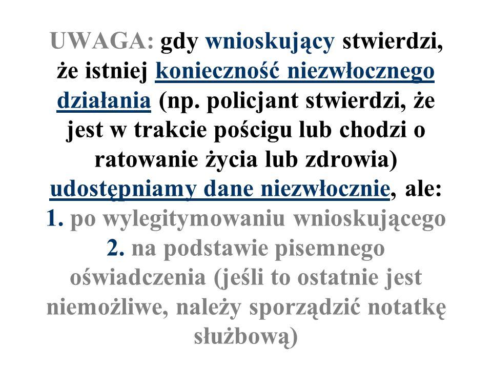 UWAGA: gdy wnioskujący stwierdzi, że istniej konieczność niezwłocznego działania (np. policjant stwierdzi, że jest w trakcie pościgu lub chodzi o rato