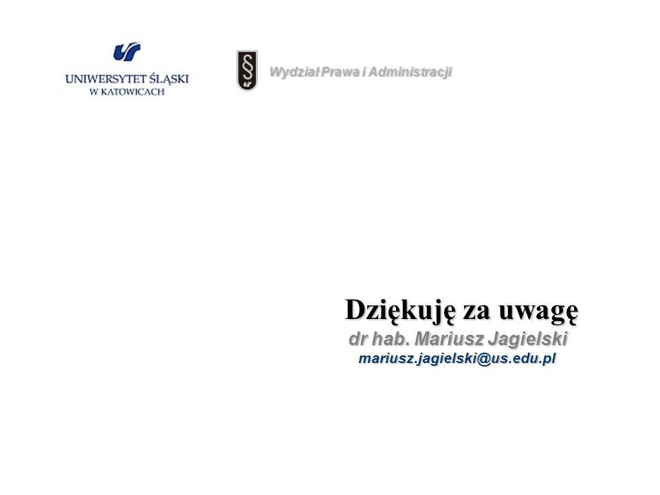 Dziękuję za uwagę Dziękuję za uwagę dr hab. Mariusz Jagielski mariusz.jagielski@us.edu.pl Wydział Prawa i Administracji
