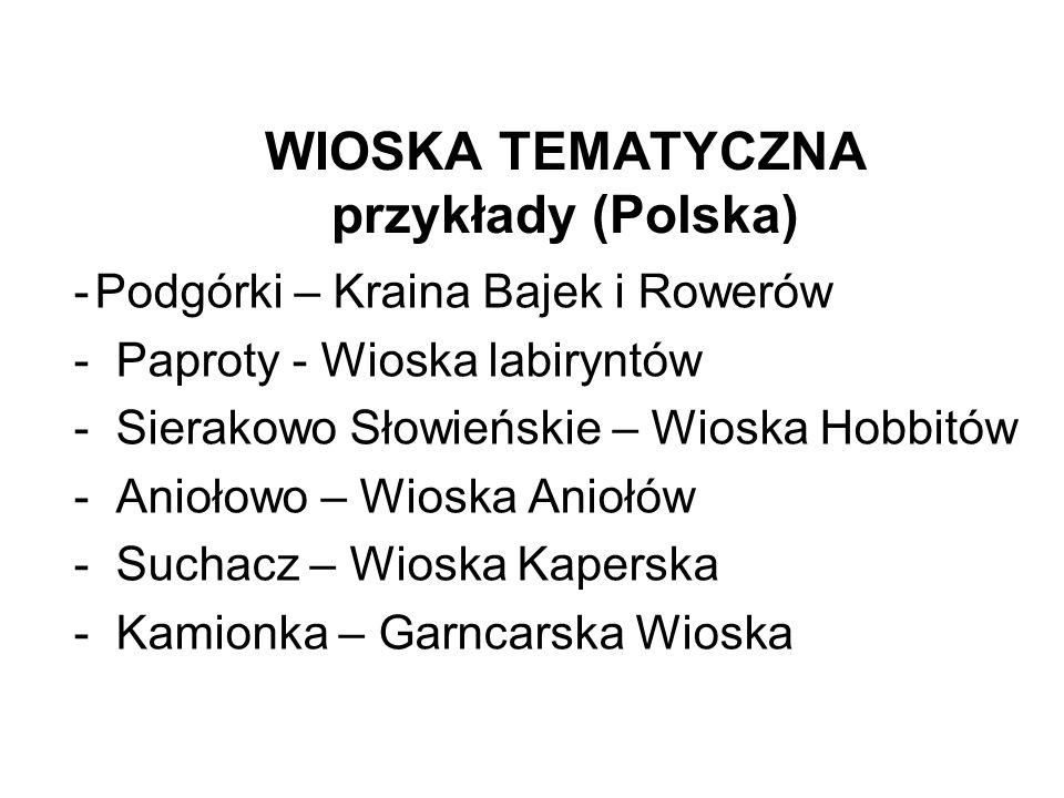 WIOSKA TEMATYCZNA przykłady (Polska) -Podgórki – Kraina Bajek i Rowerów -Paproty - Wioska labiryntów -Sierakowo Słowieńskie – Wioska Hobbitów -Aniołow