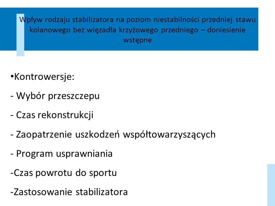 Dyskusja Brak różnic w 5 letniej obserwacji (Harilajnen 2006) Negatywny wpływ stabilizatora na tkanki – kompresja niedotlenienie, zwiększona męczliwość mięśni jako czynniki zwiększające ryzyko urazu (Styf 1999) Zmiana pozycji stabilizatora podczas ruchu (Lu 2006) Zwiększenie aktywności prostownika, zmniejszenie aktywności zginaczy w stabilizatorze funkcjonalnym (Ramsey 2003) Znaczne ograniczenie powstawania przykurczu zgięciowego (Mikkelsen 2004)