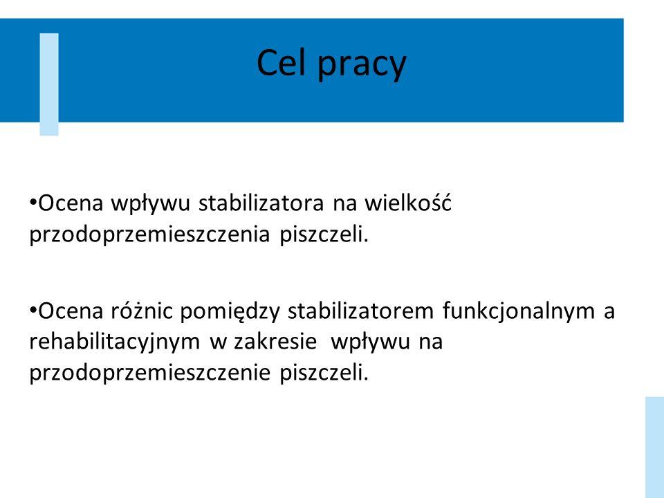 Cel pracy Ocena wpływu stabilizatora na wielkość przodoprzemieszczenia piszczeli. Ocena różnic pomiędzy stabilizatorem funkcjonalnym a rehabilitacyjny