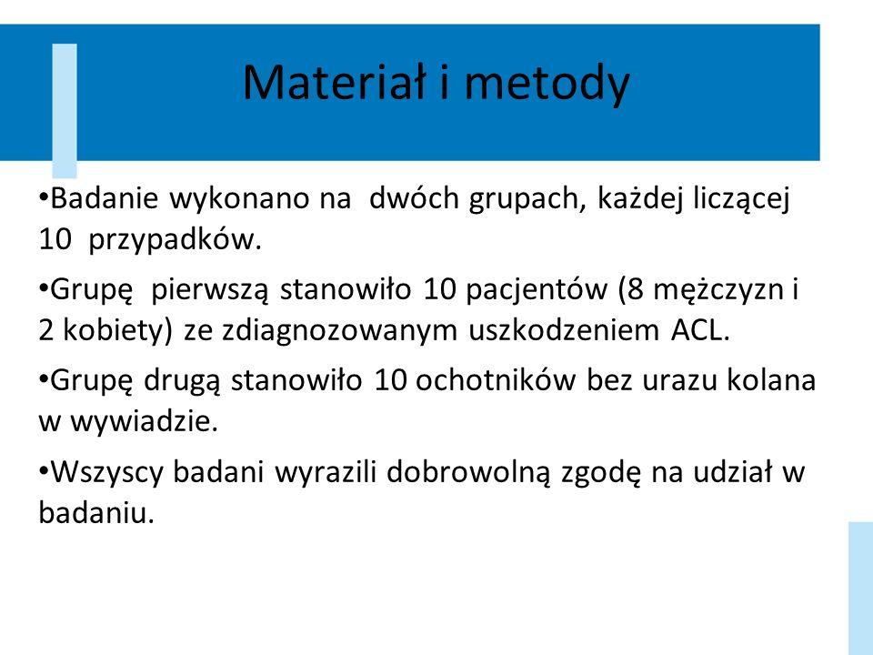 Materiał i metody Badanie wykonano na dwóch grupach, każdej liczącej 10 przypadków. Grupę pierwszą stanowiło 10 pacjentów (8 mężczyzn i 2 kobiety) ze