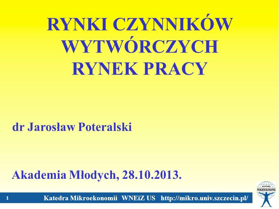 Katedra Mikroekonomii WNEiZ US http://mikro.univ.szczecin.pl/ 2 Czynniki wytwórcze Ziemia Praca Kapitał