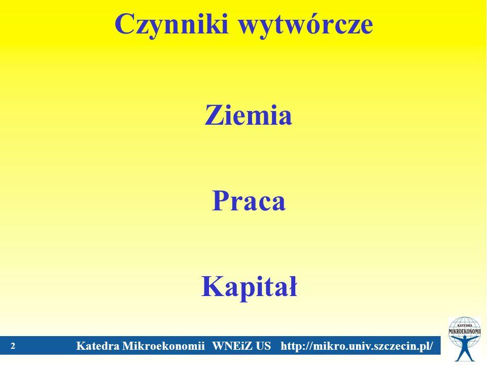 Katedra Mikroekonomii WNEiZ US http://mikro.univ.szczecin.pl/ 3 Rynki czynników wytwórczych Rynek dóbr i usług a rynki czynników wytwórczych