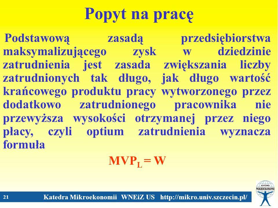 Katedra Mikroekonomii WNEiZ US http://mikro.univ.szczecin.pl/ 21 Popyt na pracę Podstawową zasadą przedsiębiorstwa maksymalizującego zysk w dziedzinie
