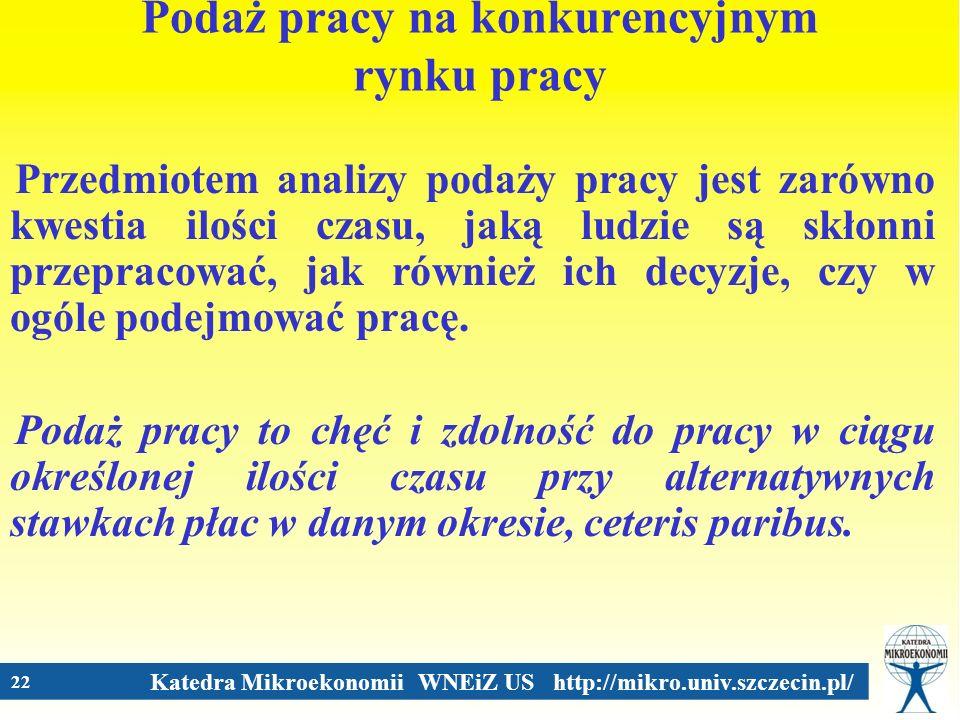 Katedra Mikroekonomii WNEiZ US http://mikro.univ.szczecin.pl/ 22 Podaż pracy na konkurencyjnym rynku pracy Przedmiotem analizy podaży pracy jest zarów