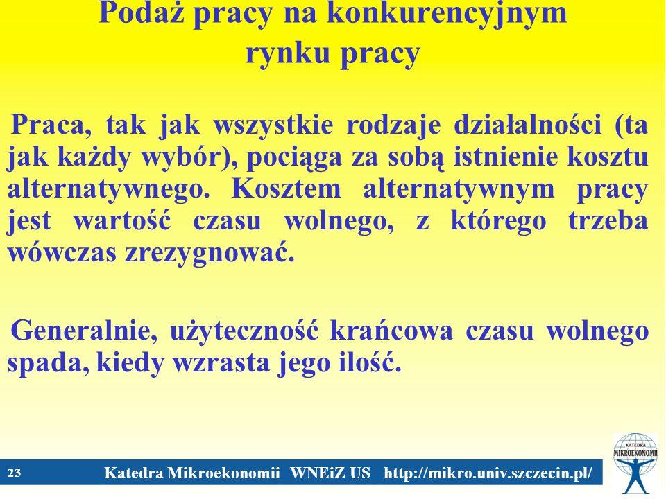 Katedra Mikroekonomii WNEiZ US http://mikro.univ.szczecin.pl/ 23 Podaż pracy na konkurencyjnym rynku pracy Praca, tak jak wszystkie rodzaje działalnoś