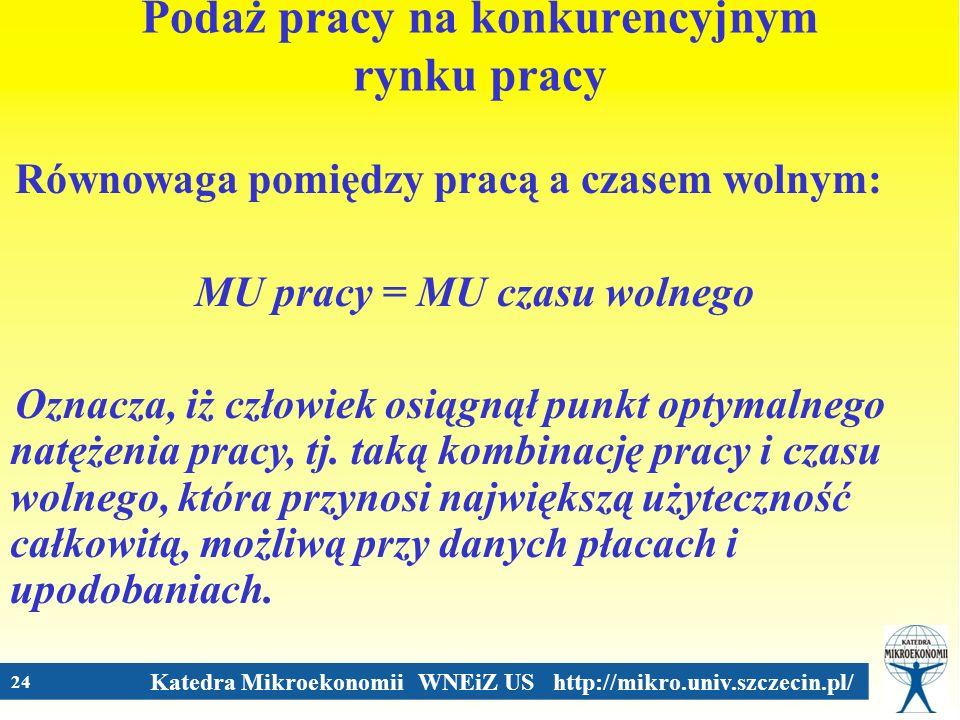 Katedra Mikroekonomii WNEiZ US http://mikro.univ.szczecin.pl/ 24 Podaż pracy na konkurencyjnym rynku pracy Równowaga pomiędzy pracą a czasem wolnym: M