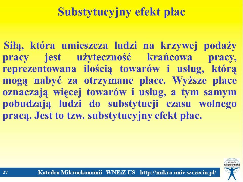 Katedra Mikroekonomii WNEiZ US http://mikro.univ.szczecin.pl/ 27 Substytucyjny efekt płac Siłą, która umieszcza ludzi na krzywej podaży pracy jest uży