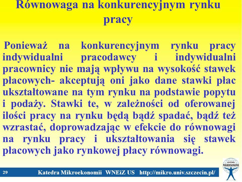 Katedra Mikroekonomii WNEiZ US http://mikro.univ.szczecin.pl/ 29 Równowaga na konkurencyjnym rynku pracy Ponieważ na konkurencyjnym rynku pracy indywi