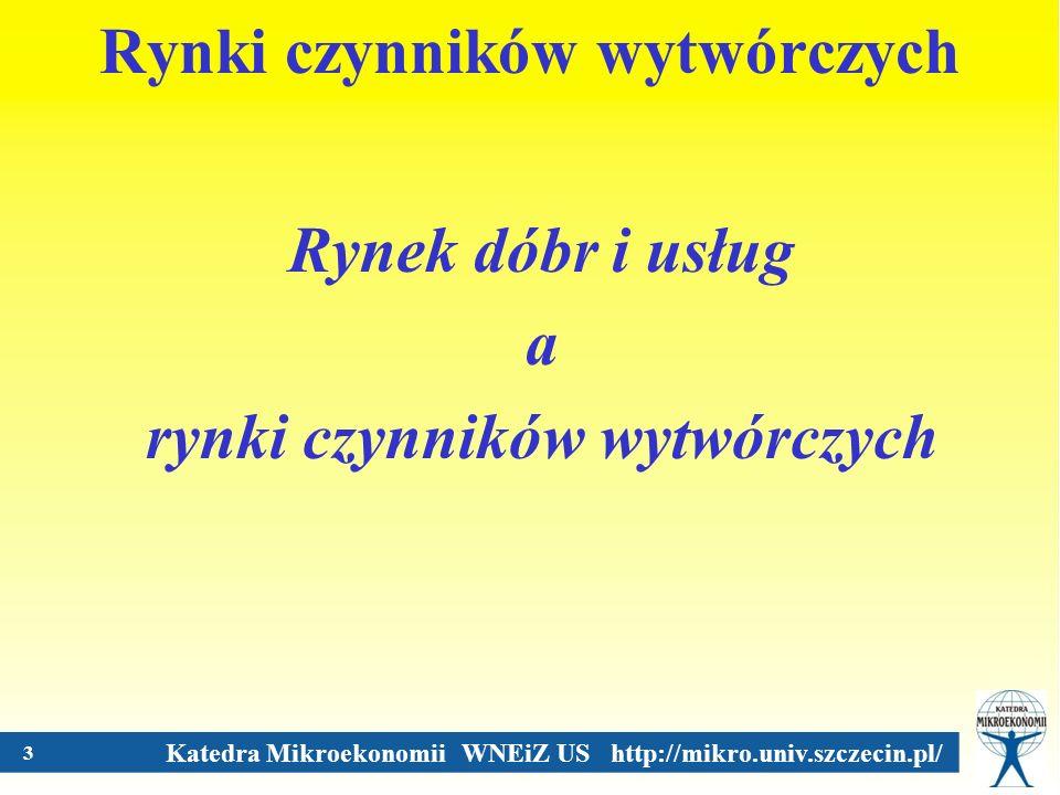Katedra Mikroekonomii WNEiZ US http://mikro.univ.szczecin.pl/ Ruch okrężny w gospodarce - gospodarka dwupodmiotowa RYNKI DÓBR I USŁUG RYNKI CZYNNIKÓW PRODUKCJI FIRMYGOSPODARSTWA DOMOWE DOBRA FINALNE OTRZYMYWANE DOCHODY PŁACE CZYNNIKI PRODUKCJI PRODUKTY WYDATKOWANIE DOCHODÓW OTRZYMYWANE DOCHODY KAPITAŁ