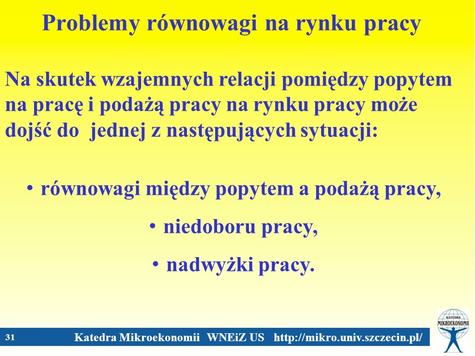Katedra Mikroekonomii WNEiZ US http://mikro.univ.szczecin.pl/ 31 Problemy równowagi na rynku pracy Na skutek wzajemnych relacji pomiędzy popytem na pr
