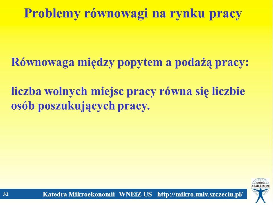 Katedra Mikroekonomii WNEiZ US http://mikro.univ.szczecin.pl/ 32 Problemy równowagi na rynku pracy Równowaga między popytem a podażą pracy: liczba wol