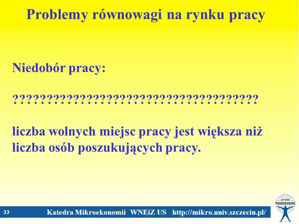 Katedra Mikroekonomii WNEiZ US http://mikro.univ.szczecin.pl/ 33 Problemy równowagi na rynku pracy Niedobór pracy: ???????????????????????????????????