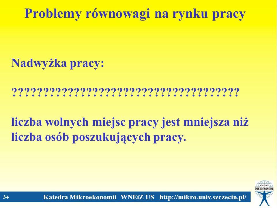 Katedra Mikroekonomii WNEiZ US http://mikro.univ.szczecin.pl/ 34 Problemy równowagi na rynku pracy Nadwyżka pracy: ???????????????????????????????????