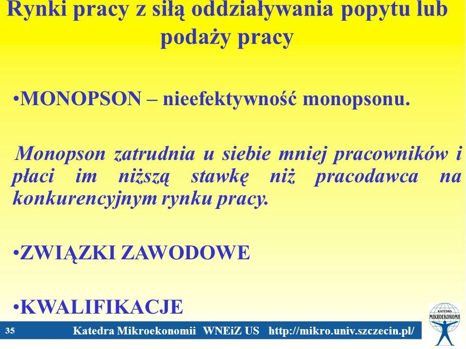 Katedra Mikroekonomii WNEiZ US http://mikro.univ.szczecin.pl/ 35 Rynki pracy z siłą oddziaływania popytu lub podaży pracy MONOPSON – nieefektywność mo