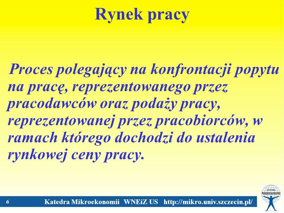 Katedra Mikroekonomii WNEiZ US http://mikro.univ.szczecin.pl/ 7 Konkurencyjny rynek pracy Konkurencyjny rynek pracy to taki rynek, na którym ani indywidualny pracodawca, ani indywidualny pracownik nie mają możliwości oddziaływania na stawki płacowe.