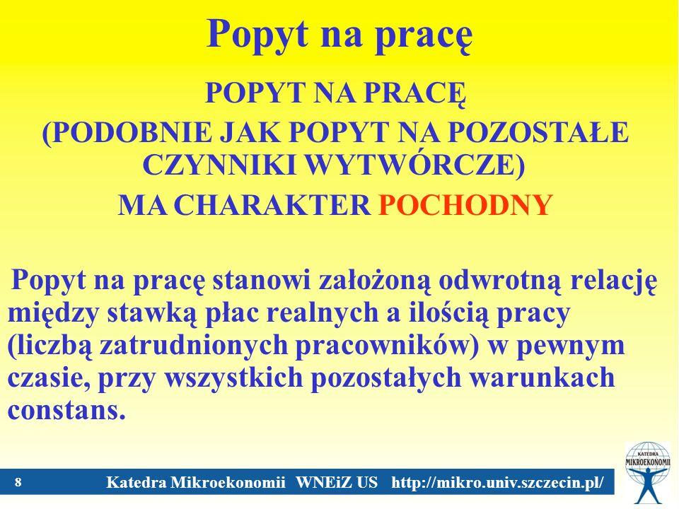 Katedra Mikroekonomii WNEiZ US http://mikro.univ.szczecin.pl/ 8 Popyt na pracę Popyt na pracę stanowi założoną odwrotną relację między stawką płac rea