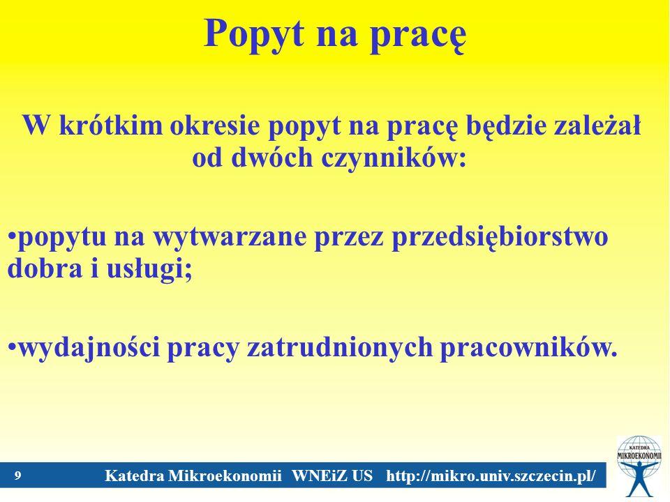 Katedra Mikroekonomii WNEiZ US http://mikro.univ.szczecin.pl/ 9 Popyt na pracę W krótkim okresie popyt na pracę będzie zależał od dwóch czynników: pop