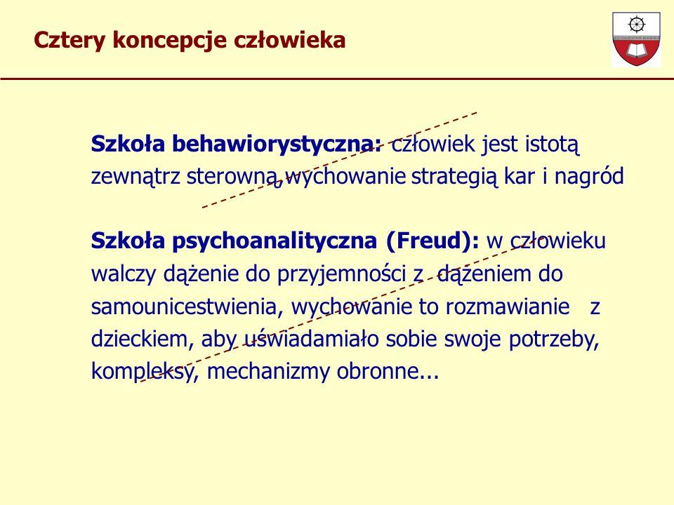 Cztery koncepcje człowieka Szkoła behawiorystyczna: człowiek jest istotą zewnątrz sterowną,wychowanie strategią kar i nagród Szkoła psychoanalityczna (Freud): w człowieku walczy dążenie do przyjemności z dążeniem do samounicestwienia, wychowanie to rozmawianie z dzieckiem, aby uświadamiało sobie swoje potrzeby, kompleksy, mechanizmy obronne...