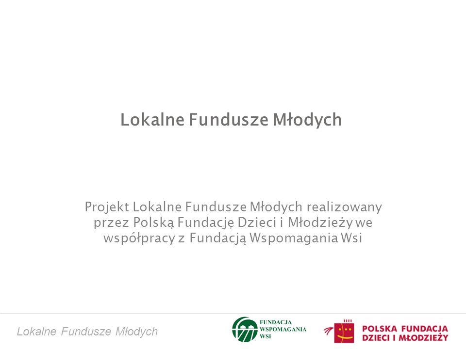 Lokalne Fundusze Młodych Projekt Lokalne Fundusze Młodych realizowany przez Polską Fundację Dzieci i Młodzieży we współpracy z Fundacją Wspomagania Ws