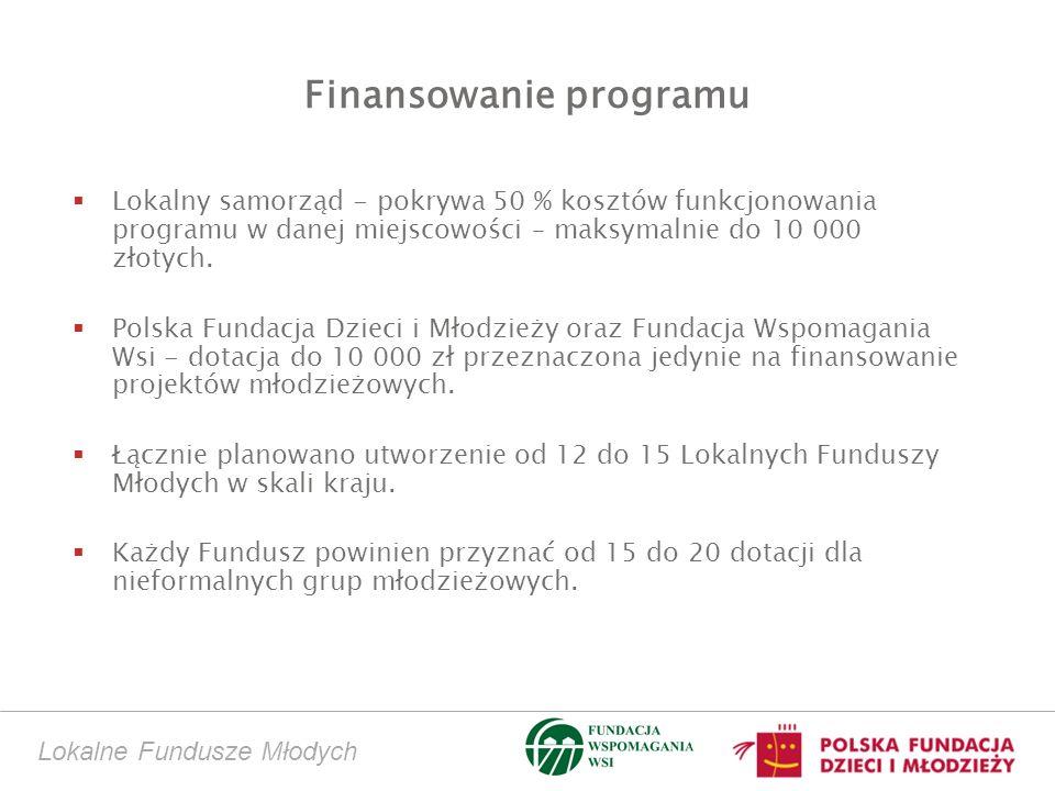 Lokalne Fundusze Młodych Finansowanie programu Lokalny samorząd - pokrywa 50 % kosztów funkcjonowania programu w danej miejscowości – maksymalnie do 10 000 złotych.