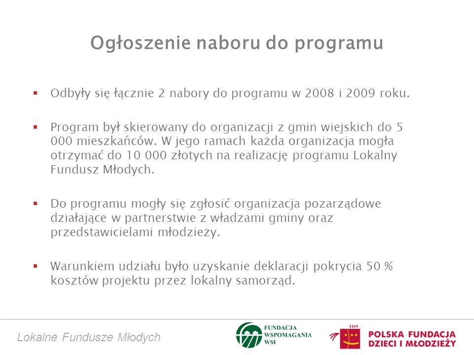 Ogłoszenie naboru do programu Odbyły się łącznie 2 nabory do programu w 2008 i 2009 roku. Program był skierowany do organizacji z gmin wiejskich do 5
