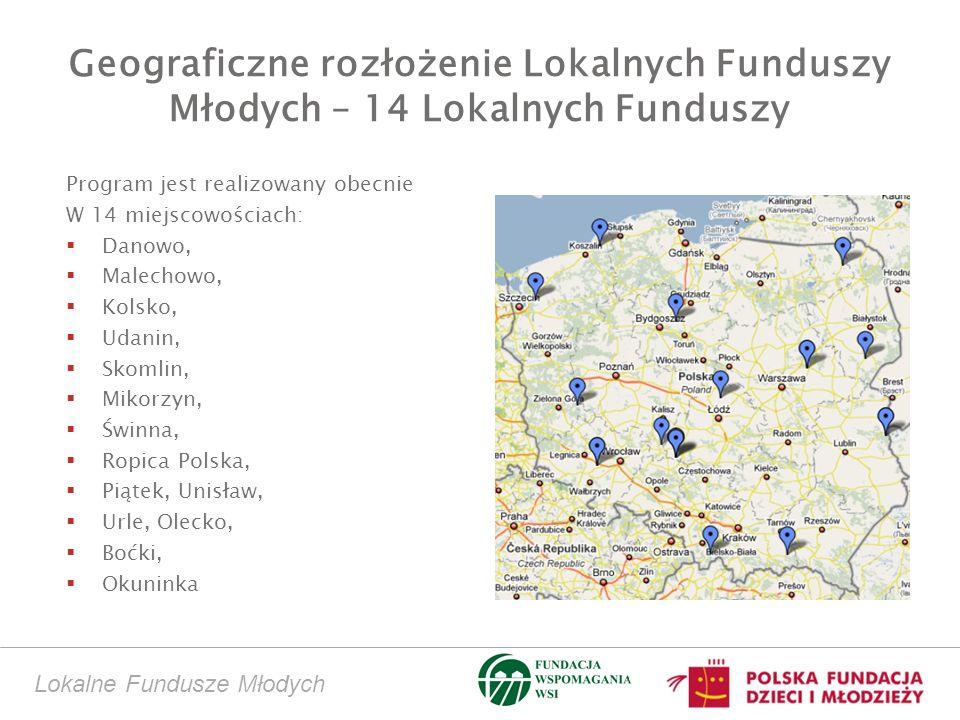 Geograficzne rozłożenie Lokalnych Funduszy Młodych – 14 Lokalnych Funduszy Program jest realizowany obecnie W 14 miejscowościach: Danowo, Malechowo, Kolsko, Udanin, Skomlin, Mikorzyn, Świnna, Ropica Polska, Piątek, Unisław, Urle, Olecko, Boćki, Okuninka Lokalne Fundusze Młodych