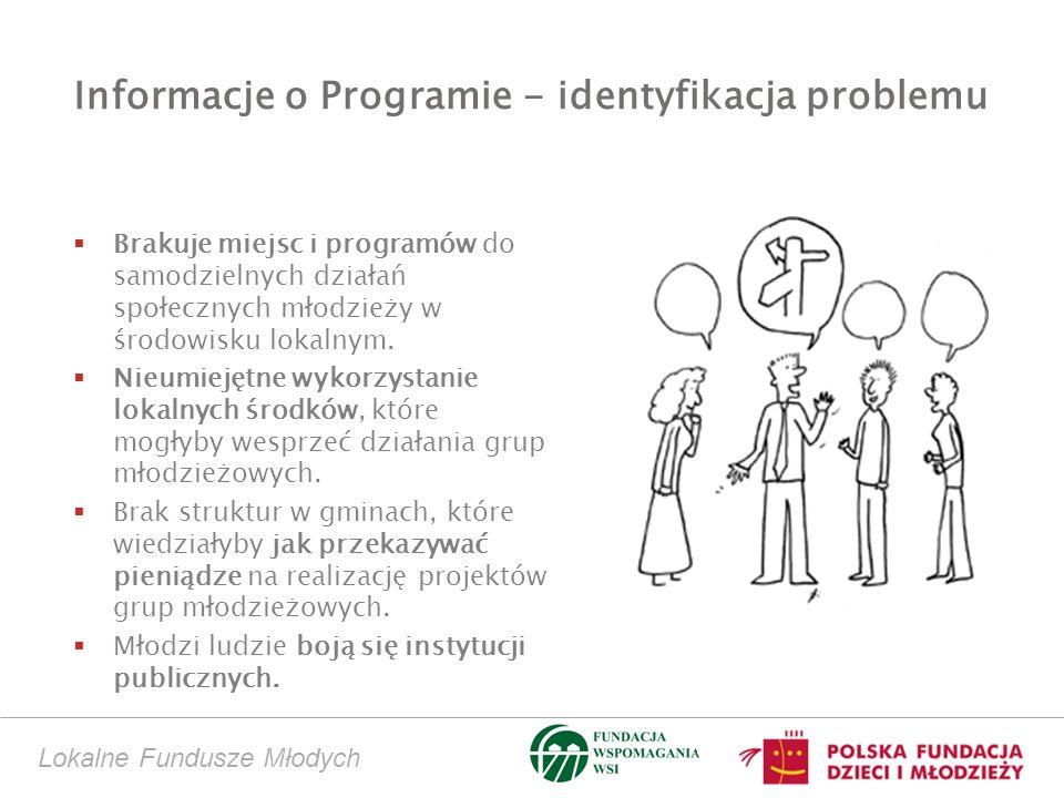 Informacje o Programie - identyfikacja problemu Brakuje miejsc i programów do samodzielnych działań społecznych młodzieży w środowisku lokalnym. Nieum